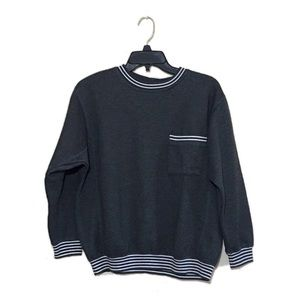 Vintage 3/4 sleeve striped pocket sweatshirt